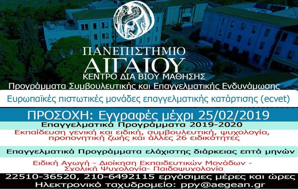 Μοριοδοτούμενα Προγράμματα του Πανεπιστήμιου Αιγαίου